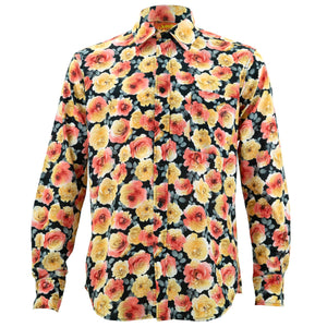 Regular Fit Long Sleeve Shirt - Blooming - Black Orange