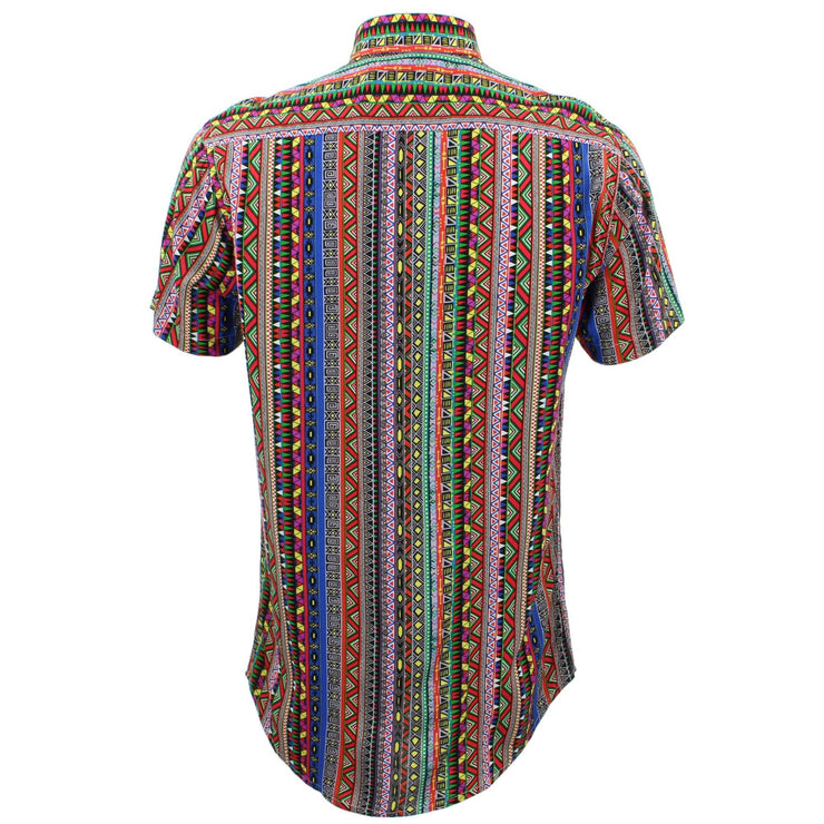 Tailored Fit Short Sleeve Shirt - Aztec Stripes
