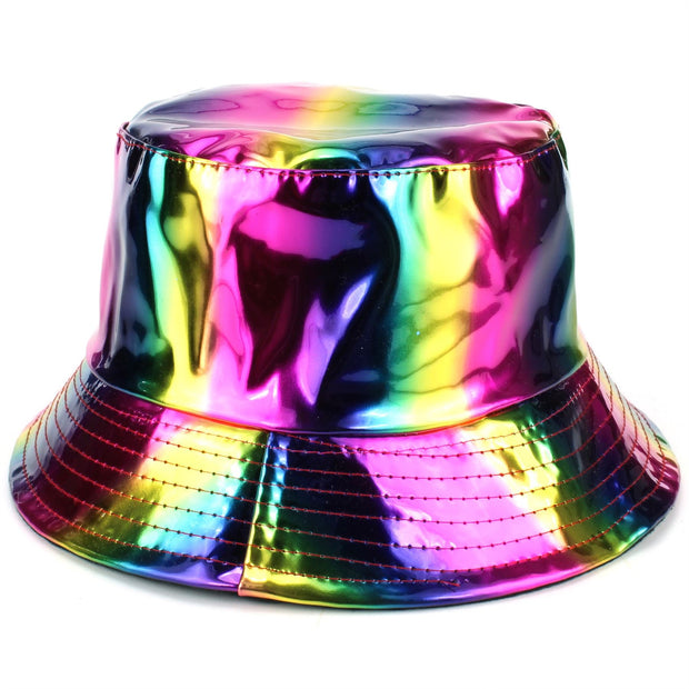 Shiny Metallic Bucket Hat - Rainbow