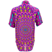 Regular Fit Short Sleeve Shirt - Peacock Mandala - Pink Blue
