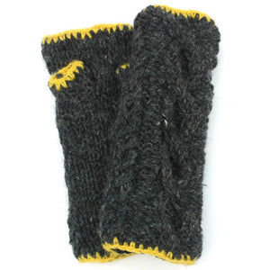 Wool Knit Arm Warmer - Cable - Charcoal Grey