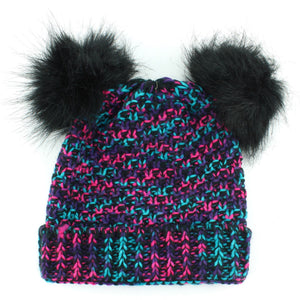 Childrens Chunky Knit Multicoloured Beanie Bobble Hat - Black