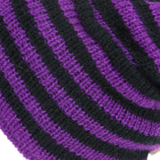 Wool Knit Ridge Beanie Hat with Fleece Lining - Purple & Black