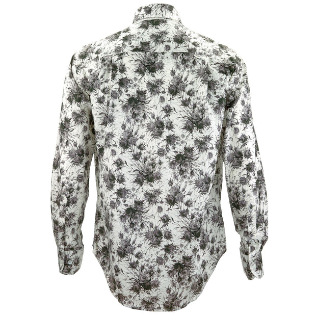 Regular Fit Long Sleeve Shirt - Charcoal Roses