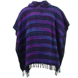 Hooded Square Poncho - Purple & Black
