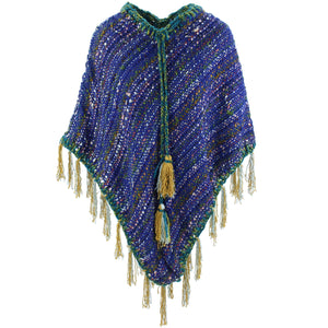 Stripe Crochet Poncho Long - Blue
