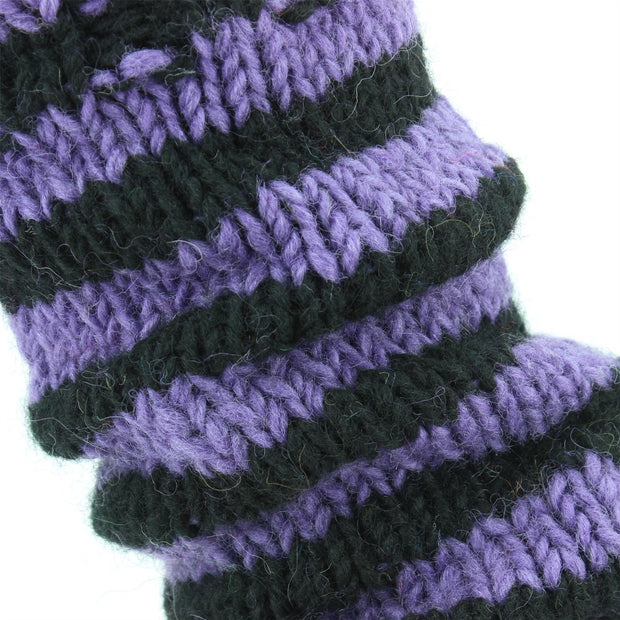 Chunky Wool Knit Leg Warmers - Purple & Black