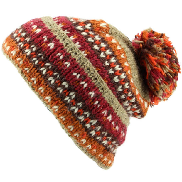 Chunky Wool Knit Baggy Slouch Beanie Bobble Hat - Rusty Brown