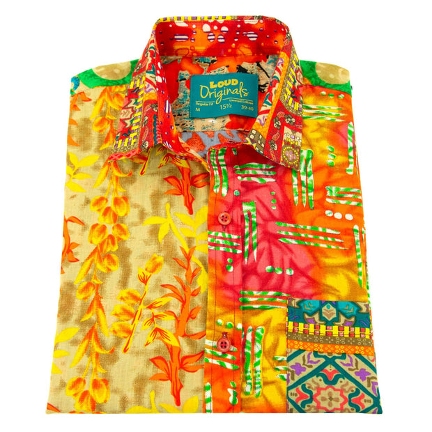 Regular Fit Short Sleeve Shirt - Random Mixed Panel Orange