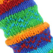Chunky Wool Knit Leg Warmers - Rainbow