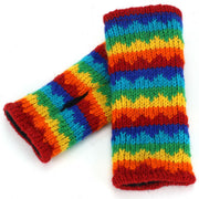 Wool Knit Arm Warmer - Rainbow Zig Zag