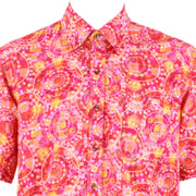 Regular Fit Short Sleeve Shirt - Red & Pink Abstract Circles