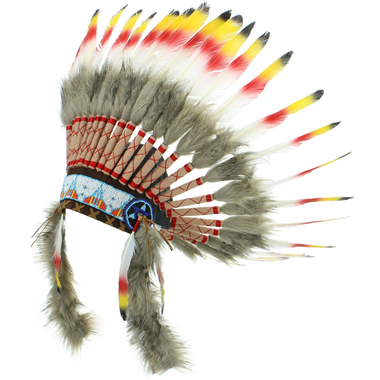 Native Amercian Chief Headdress - Red Yellow & Black