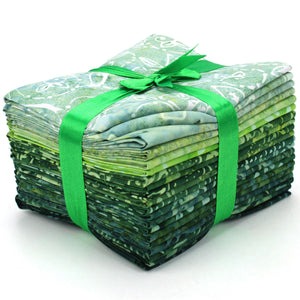 Cotton Batik Pre Cut Fabric Bundles - Fat Quarter - Jungle Green