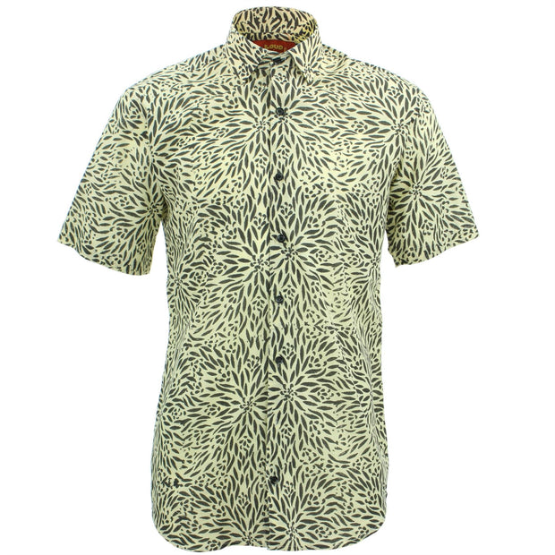 Tailored Fit Short Sleeve Shirt - Block Print - Stamen