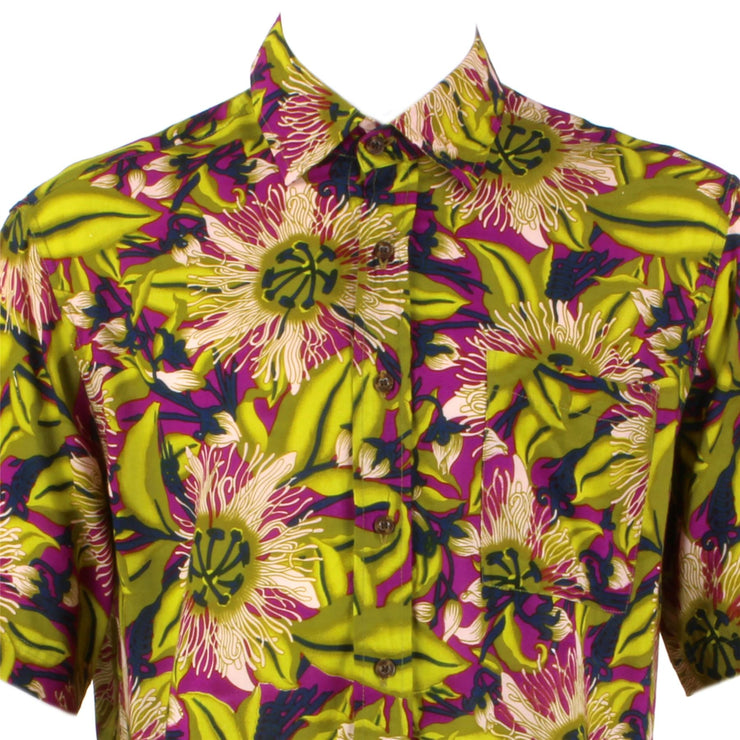 Regular Fit Short Sleeve Shirt - Green & Purple Psychedelic Floral