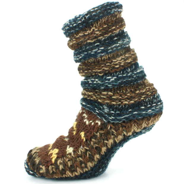 Chunky Wool Knit Abstract Pattern Slipper Socks - Blue & Brown