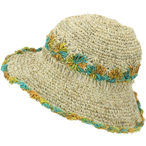 Hemp & Cotton Crochet Sun Hat - Turquoise & Yellow