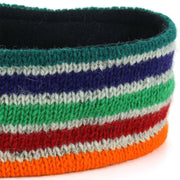 Wool Kint Headband - Stripe Green