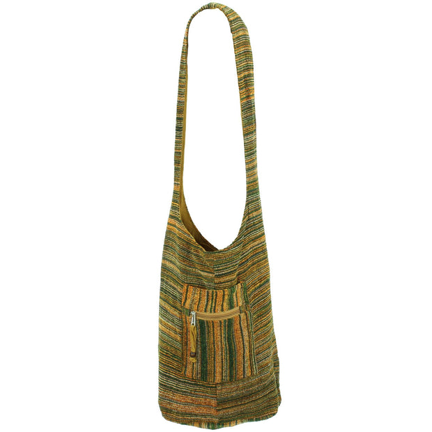 Striped Chenille Sling Shoulder Bag  - Green Gold