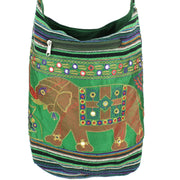 Embroidered Elephant Canvas Sling Shoulder Bag - Green Purple