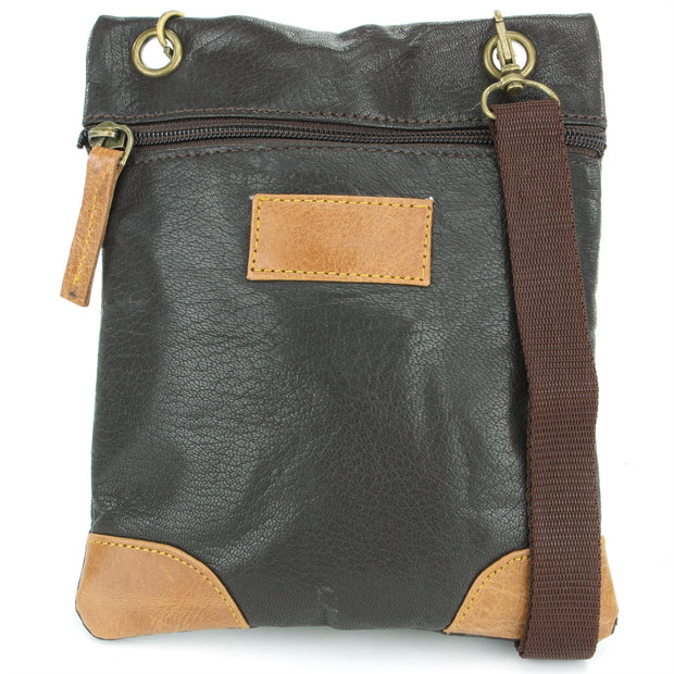Real Leather Small Cross Body Shoulder Bag - Black