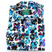Tailored Fit Long Sleeve Shirt - Abstract Floral Windows Blue