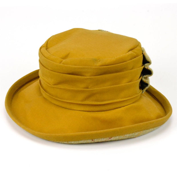 Ladies Wax Hat with Tweed Bow - Yellow