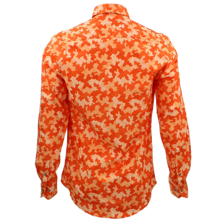 Tailored Fit Long Sleeve Shirt - Orange Camouflage