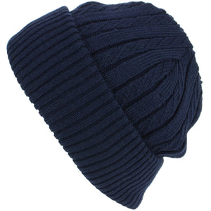 Fine Knit Beanie Hat with Super Soft Fleece Lining - Blue