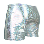 Shiny Mens Shorts - Silver