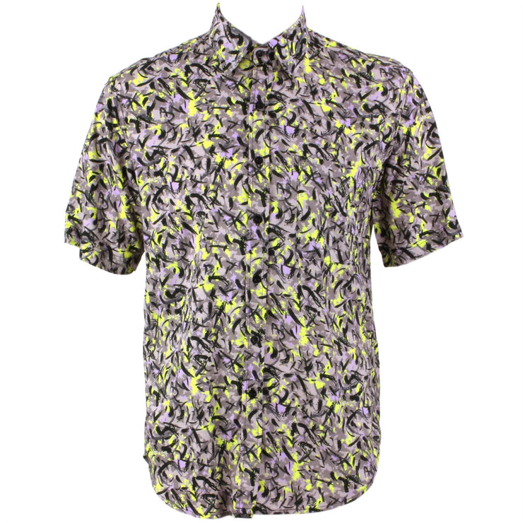 Regular Fit Short Sleeve Shirt - Brush Splatter Abstract