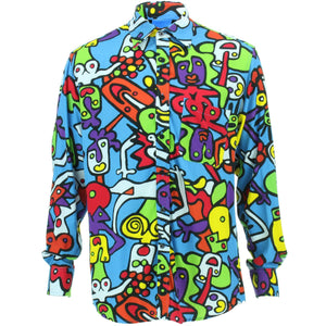 Slim Fit Long Sleeve Rayon Shirt - Tiffy Print - Blue