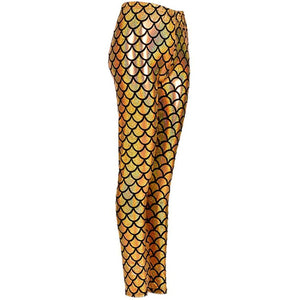 Shiny Fish Scale Leggings - Gold