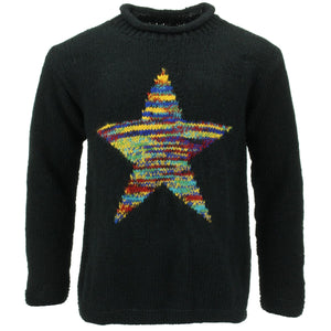 Chunky Wool Knit Star Jumper - Black & Rainbow Space Dye