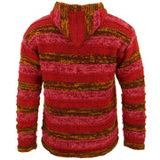 Space Dye Chunky Wool Knit Ribbed Hooded Cardigan Jacket - Red