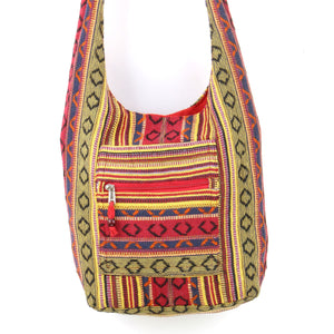 Diamond Pattern Canvas Sling Shoulder Bag - Red Blue