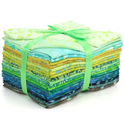 Cotton Batik Pre Cut Fabric Bundles - Fat Quarter - Greens & Blues