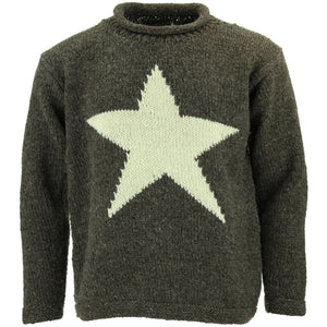 Chunky Wool Knit Star Jumper - Brown & Cream