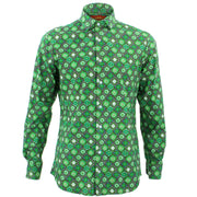Slim Fit Long Sleeve Shirt - Fleur Crest