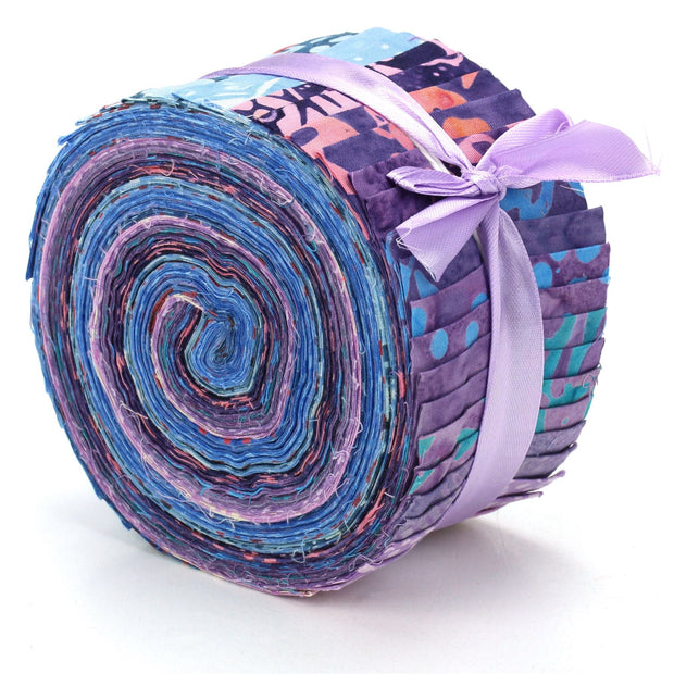 Cotton Batik Pre Cut Fabric Bundles - Jelly Roll  - Tinted with Magic
