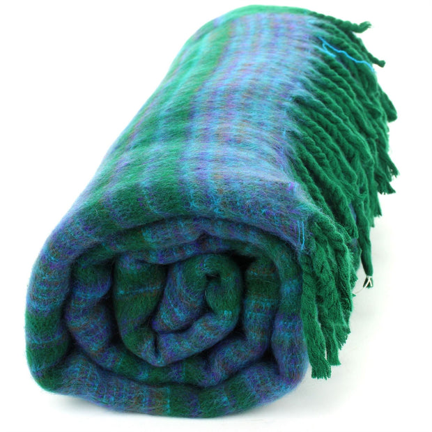 Vegan Wool Shawl Blanket - Stripe - Racing Green Blue