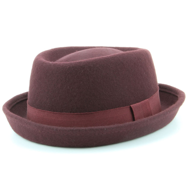 100% Wool felt Pork pie hat with band - Maroon