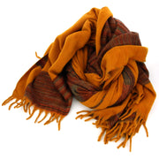Tibetan Wool Blend Shawl Blanket - Mustard with Red & Grey Reverse
