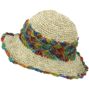 Hemp & Cotton Crochet Sun Hat - Rainbow Band
