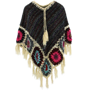 Granny Squares Crochet Poncho Short - Black Multi/Cream