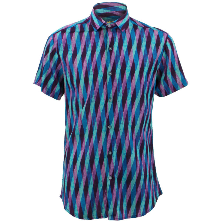 Tailored Fit Short Sleeve Shirt - Overlapping Art Deco