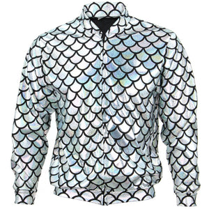 Unisex Fish Scale Bomber Jacket - Silver