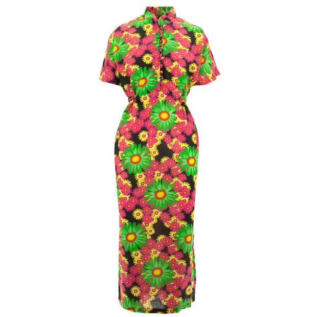 Mandarin Maxi Dress - Green Splice Daisy
