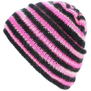 Wool Knit Ridge Beanie Hat with Fleece Lining - Black & Pink Space Dye